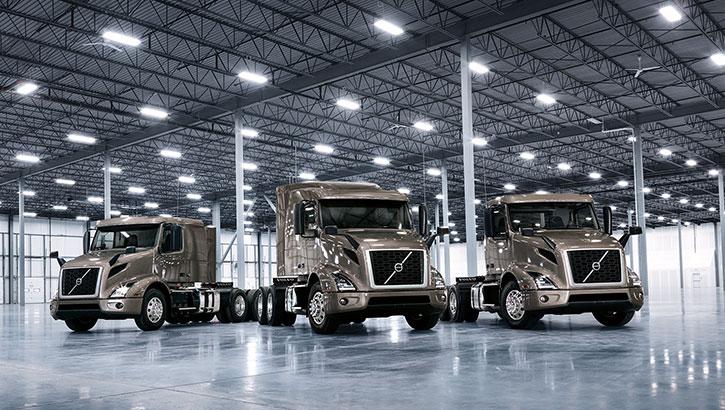 Three Volvo Trucks VNR standing for photo shoot