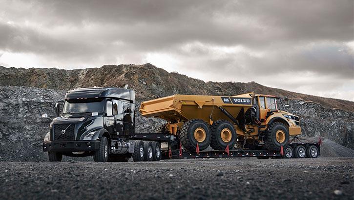 Volvo Trucks carrying Volvo hauler