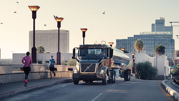 Volvo Trucks VNL coming up on a flyover