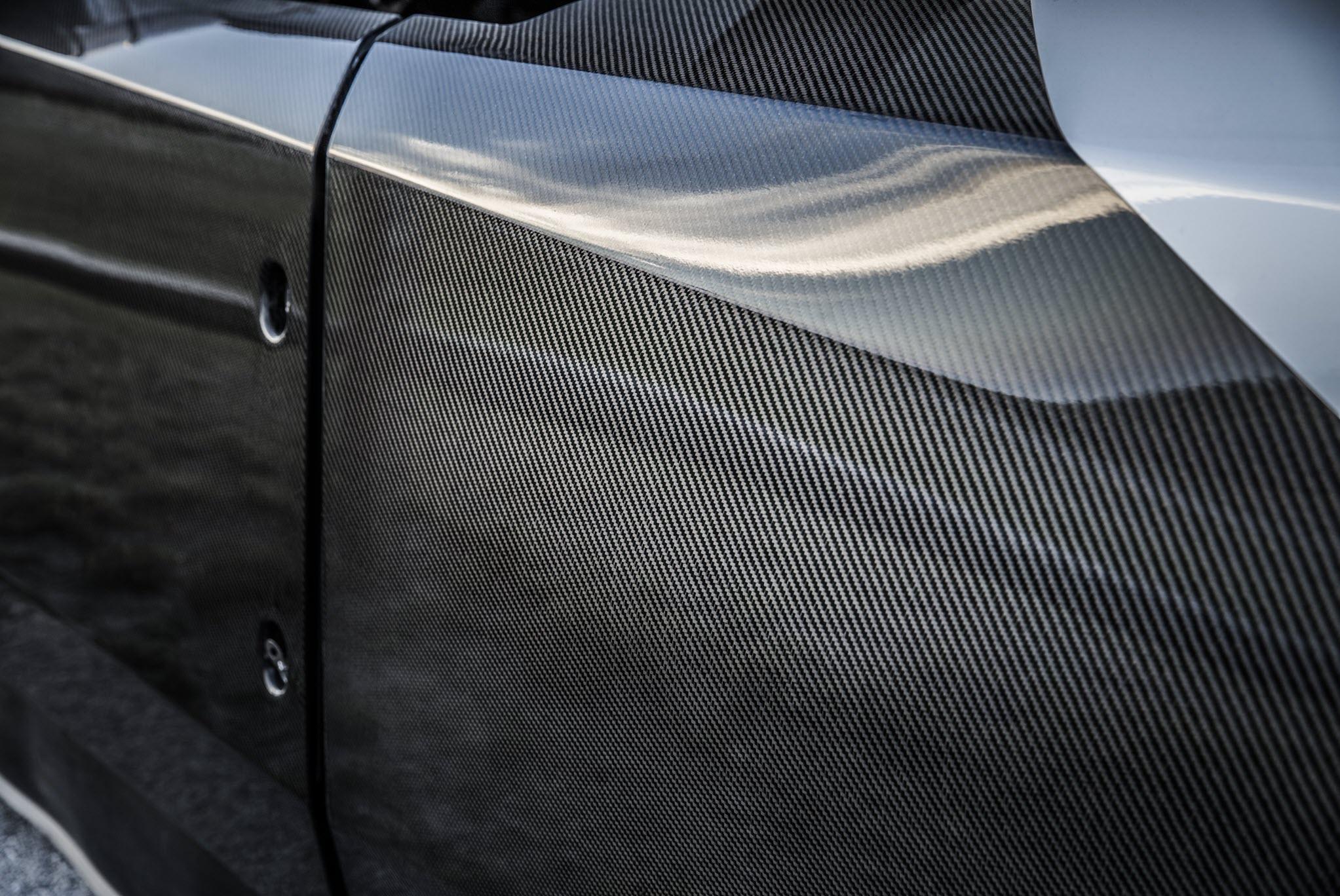 close-up of carbon fiber siding